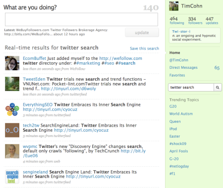 Twitter Real Time Inline Search