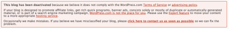 Deactivated WordPress Blog Notice