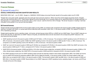 google second quarter 2009 results