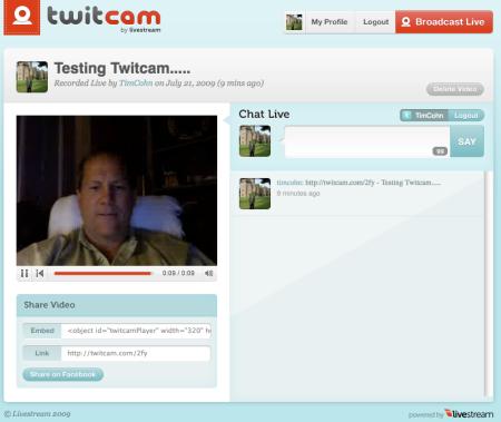 Tim Cohn Testing Twitcam