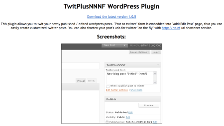 TwitPlusNNNF WordPress Plugin