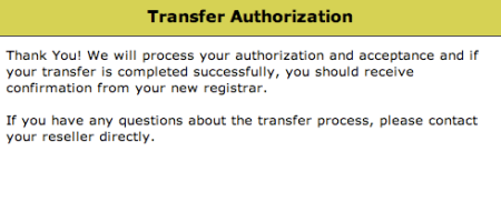 Domain Transfer Authorization