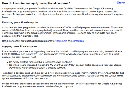 Google Adwords Promotional Coupons