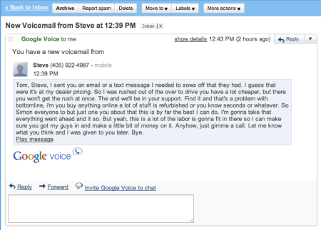 Google Voice Message in Gmail