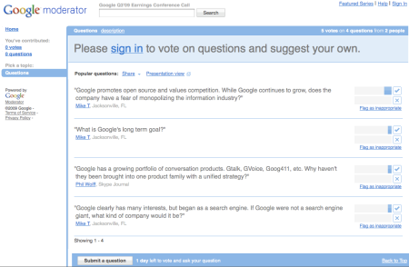 Google Earnings Call Q3 2009