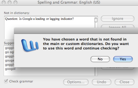 Google not in Microsoft Spell Check Dictionary
