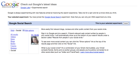 Google Social Search Experiment