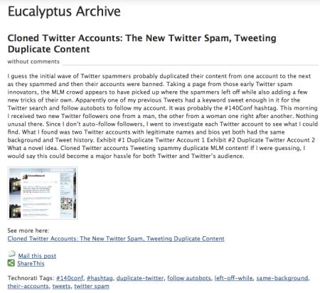 Eucalyptus Archive Content Theft
