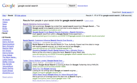 Google Social Search Back Again