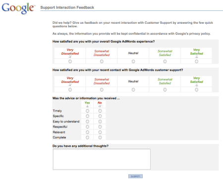 Google Adwords Support Interaction Feedback