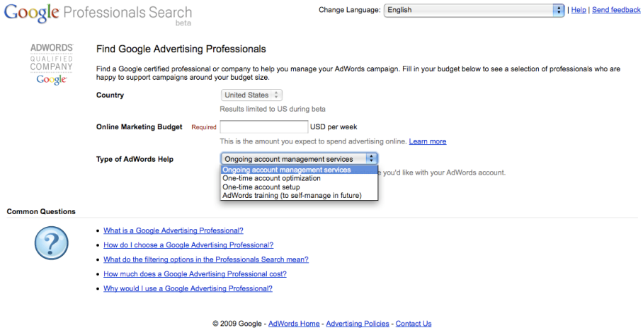 Google Professionals Search Beta