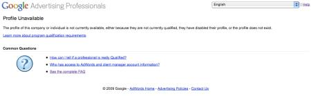 Google Profile Unavailable