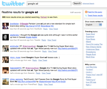 Google Ad Twitter Search