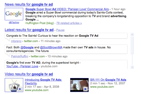 Google Search TV Ad Tweets