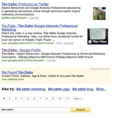 Twitter Avatars In Yahoo Search Results