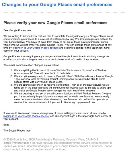 Google Places Changes