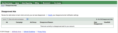Google Adwords Disapproved Ads Tool