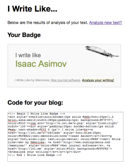 I Write Like Isaac Asimov