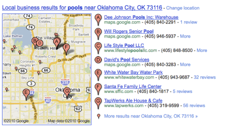 Local Business Results For Pools in Google Maps