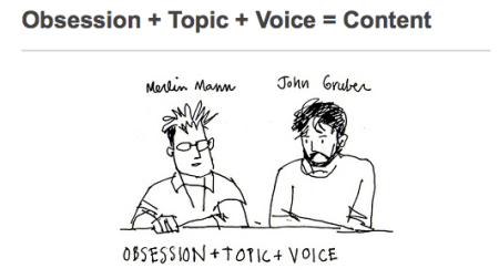 Obsession +Topic + Voice  = Content