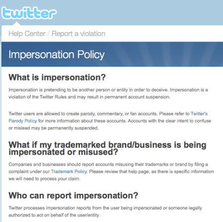 Twitter Impersonation Policy