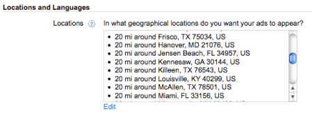 Adwords Locations Targeted
