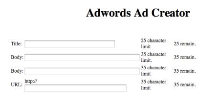 AdWords Product Marketing Challenge