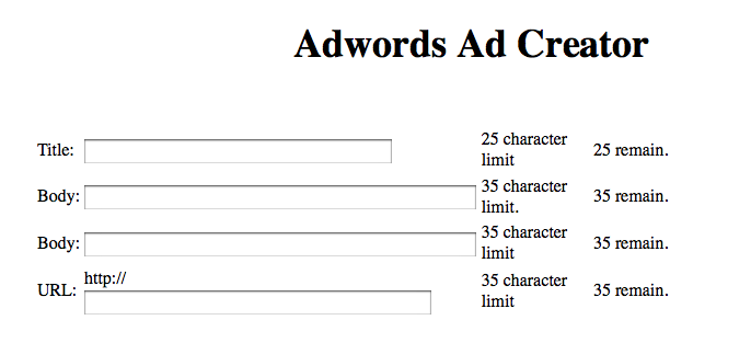 AdWords Product Marketing Challenge