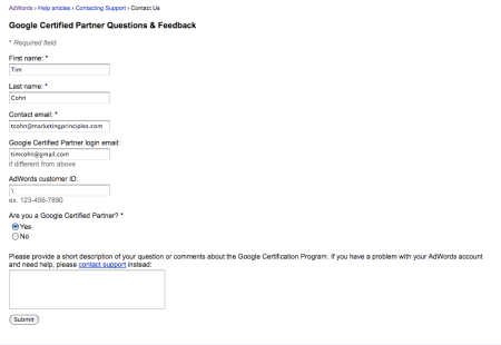 Google Certified Partner Questions & Feedback