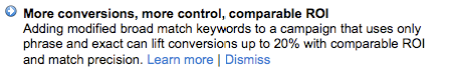 Modified Broad Match Keywords: More Conversions, More Control, Comparable ROI