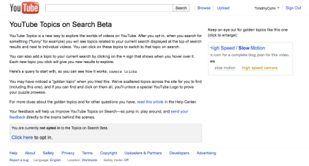 YouTube Topics on Search Beta