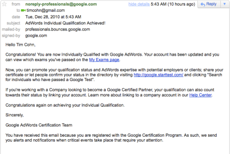 AdWords Individual Qualification Achieved