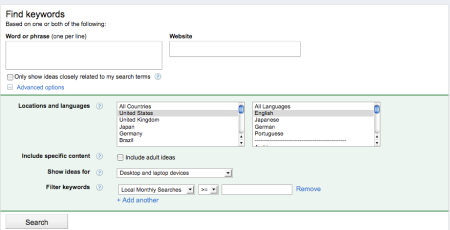 AdWords Keyword Tool Improvements