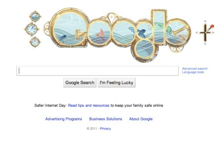 Google Jules Verne Doodle 2011