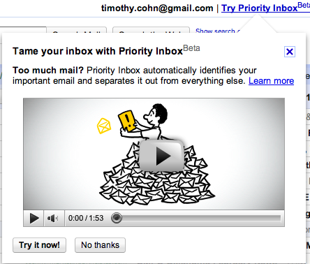 Tame Your Inbox With Priority Inbox