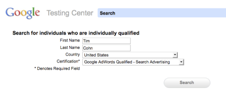 Google Testing Center Search