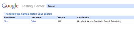 Google Testing Center Search Results